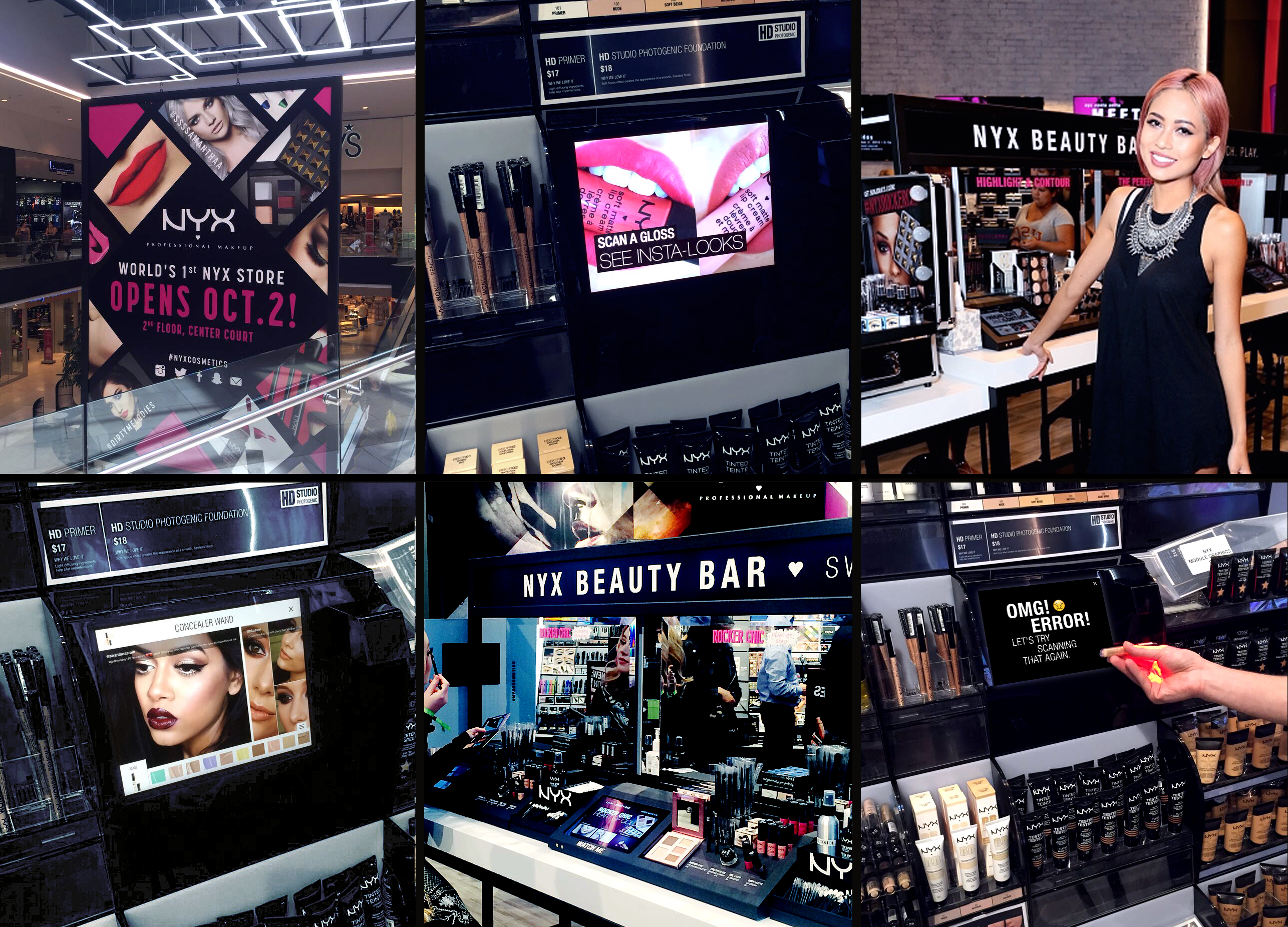 6 image collage from NYX Toronto opening