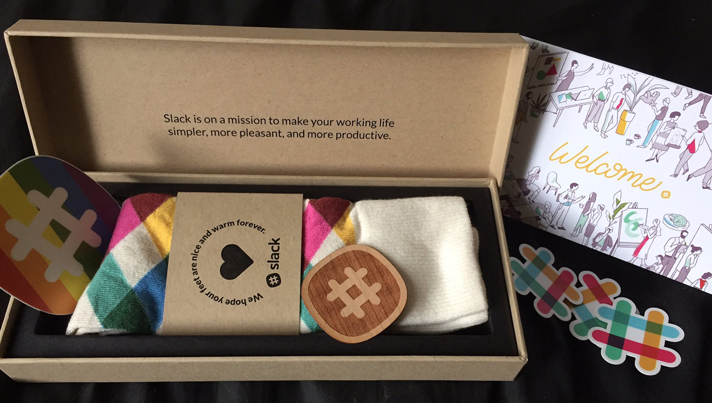 Mina's welcome box from Slack